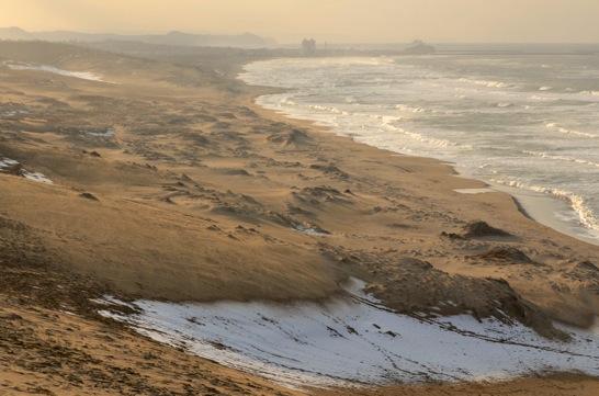 馬の背から眺める冬の鳥取砂丘