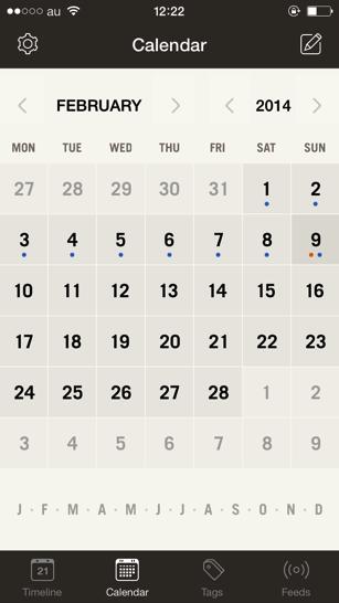 Momentoのカレンダー画面