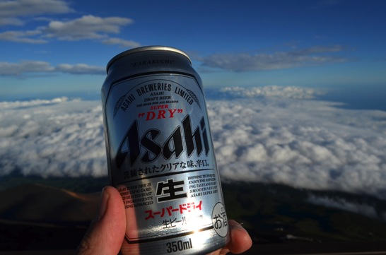 富士山でビール