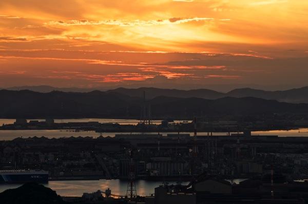 水島コンビナート 夕景