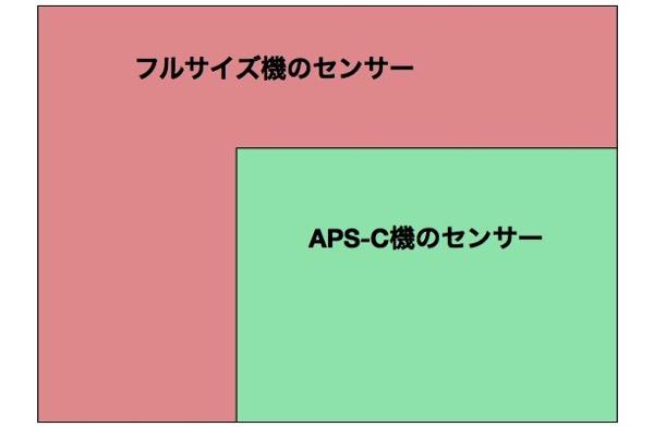 フルサイズとAPS Cのセンサーサイズ比較