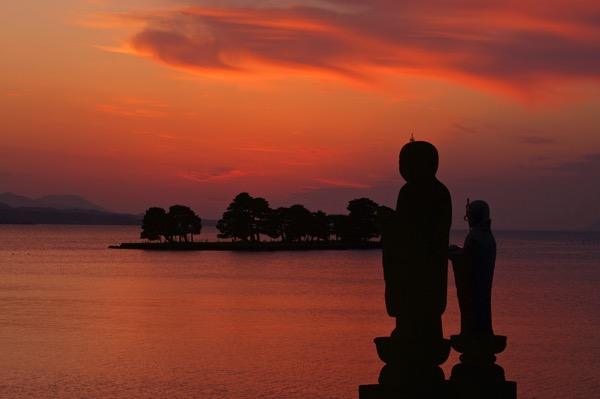 宍道湖の夕景 地蔵