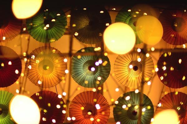 由志園 番傘 ライトアップ
