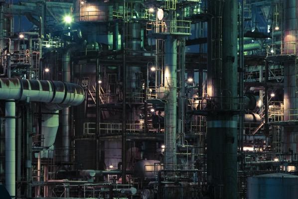 大正橋周辺の工場夜景 四日市コンビナート