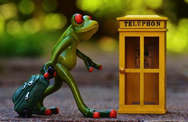 カエル 電話ボックス