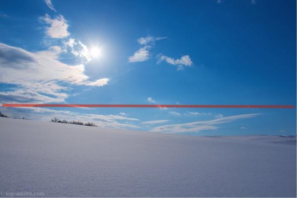 二分割構図 鳥取砂丘 雪