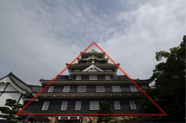 三角構図 岡山城