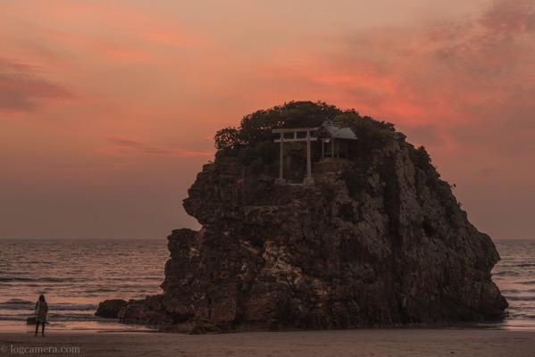 稲佐の浜の夕景 シルエット