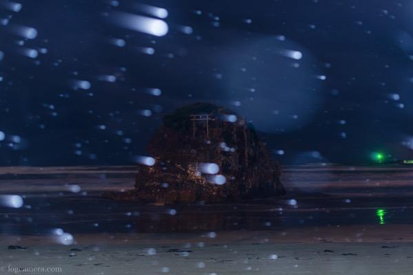 稲佐の浜と雪