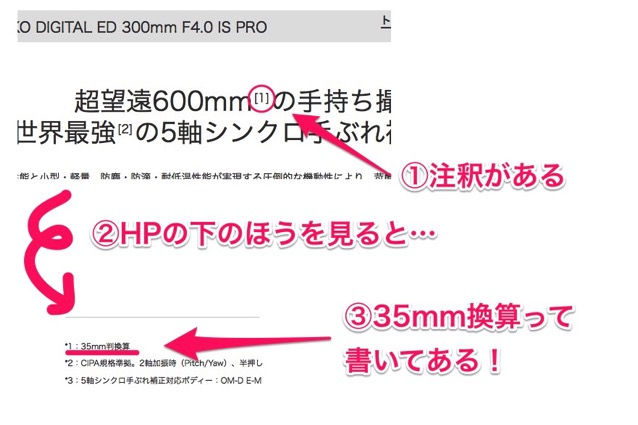 OLYMPUS 35mm換算 注釈