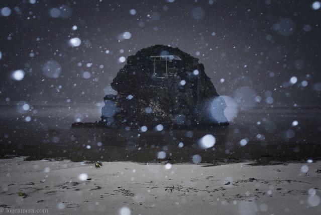 稲佐の浜 雪