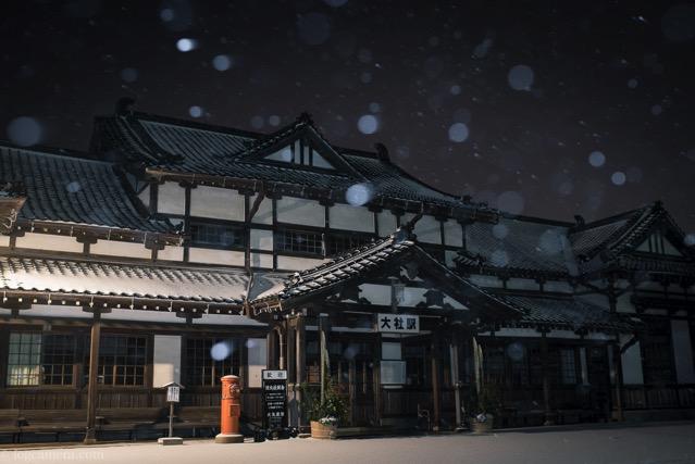 雪の旧大社駅