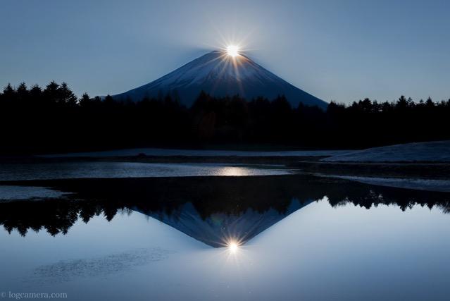 ダブルダイヤモンド富士 本栖湖