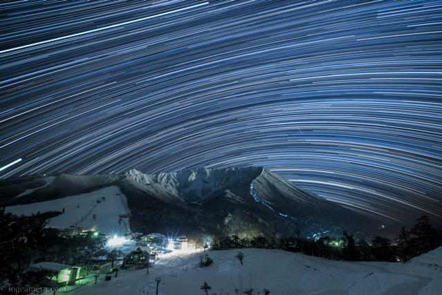 大山 豪円山のろし台 星の光跡