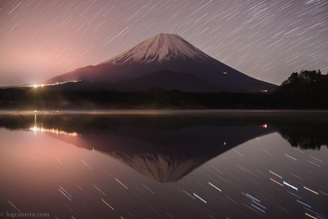 富士山 精進湖 夜