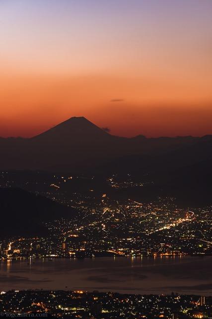 高ボッチ高原 富士山 朝焼け