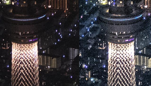 空撮夜景ノイズ処理