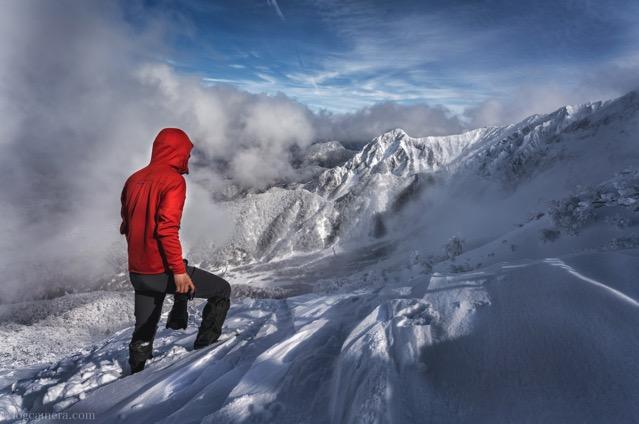 大山 冬 登山 自撮り