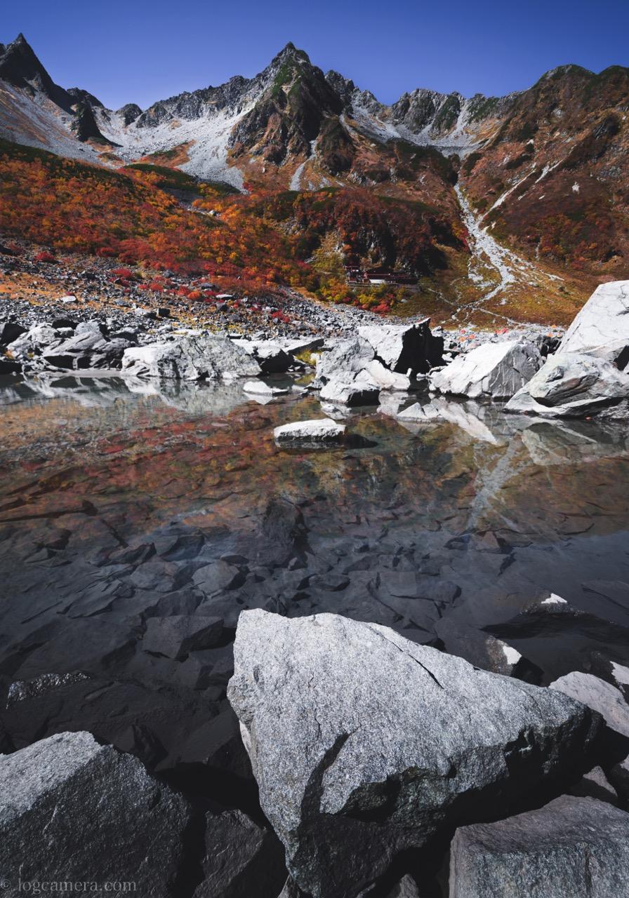 涸沢 紅葉 池