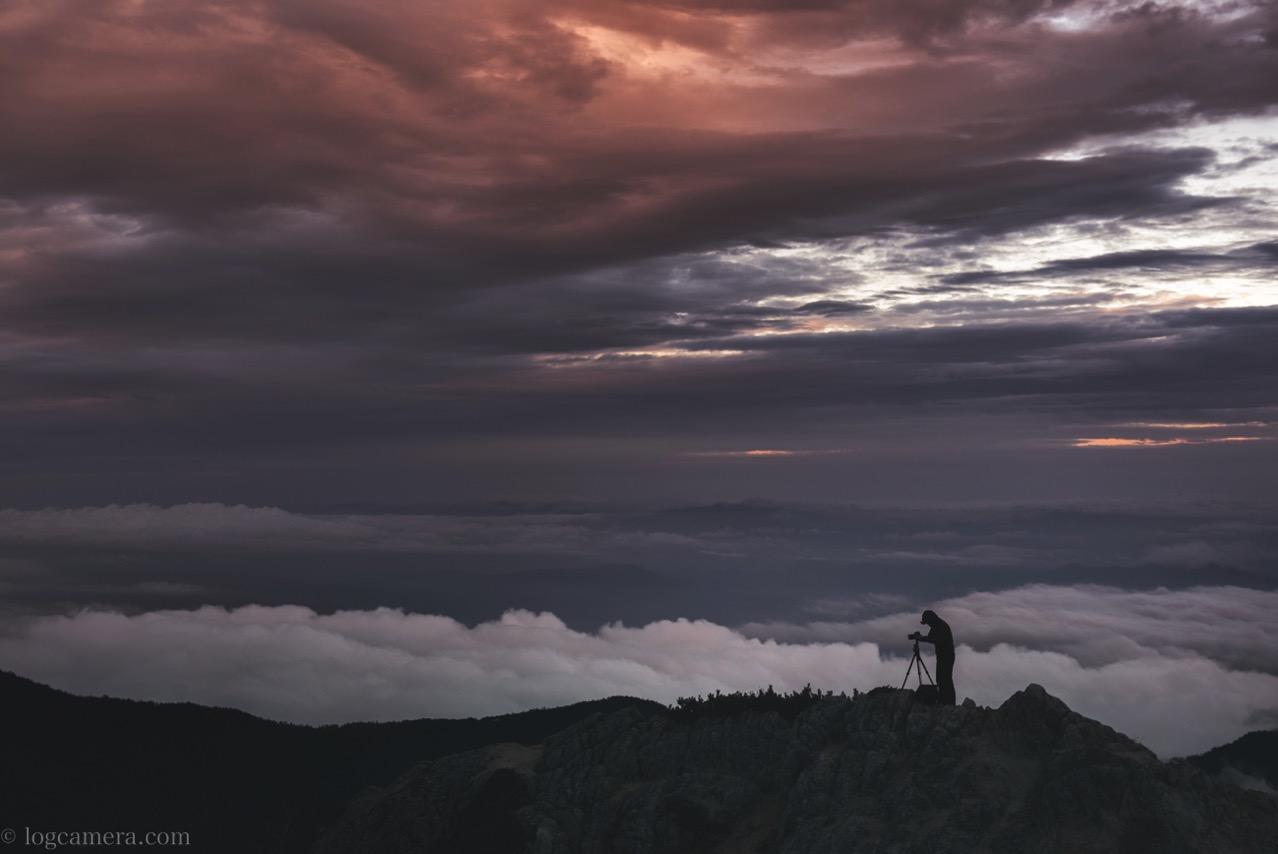 燕岳 夕焼け 雲海