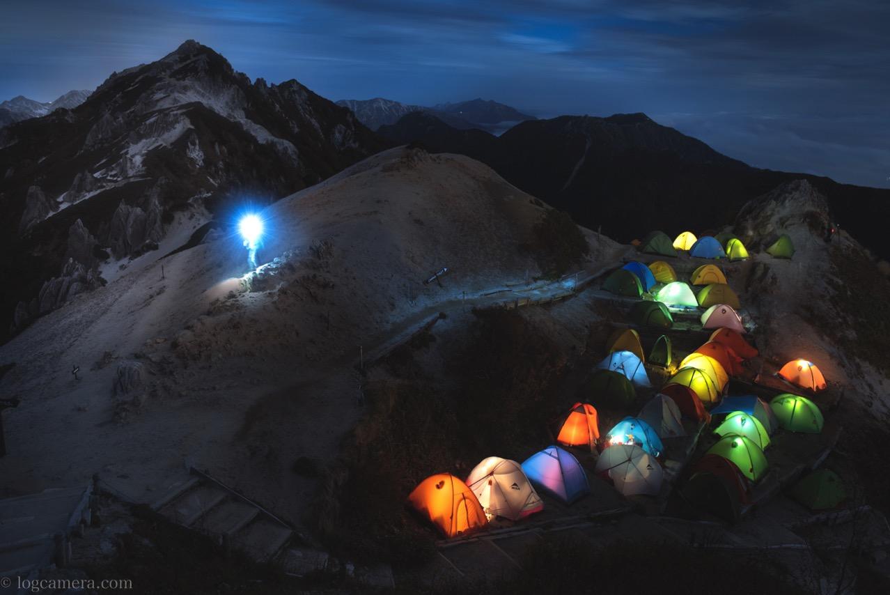 燕岳 夜のテント場