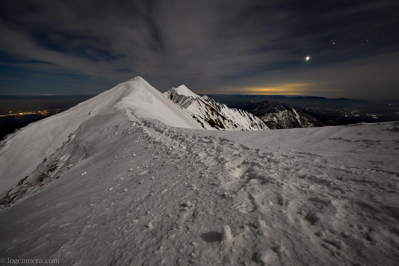 大山 冬山 ナイトハイク