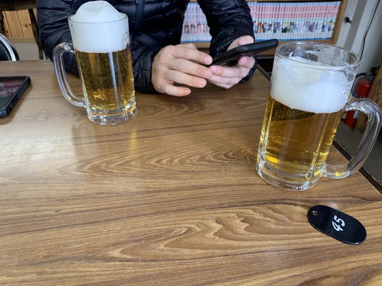 八方池山荘 生ビール