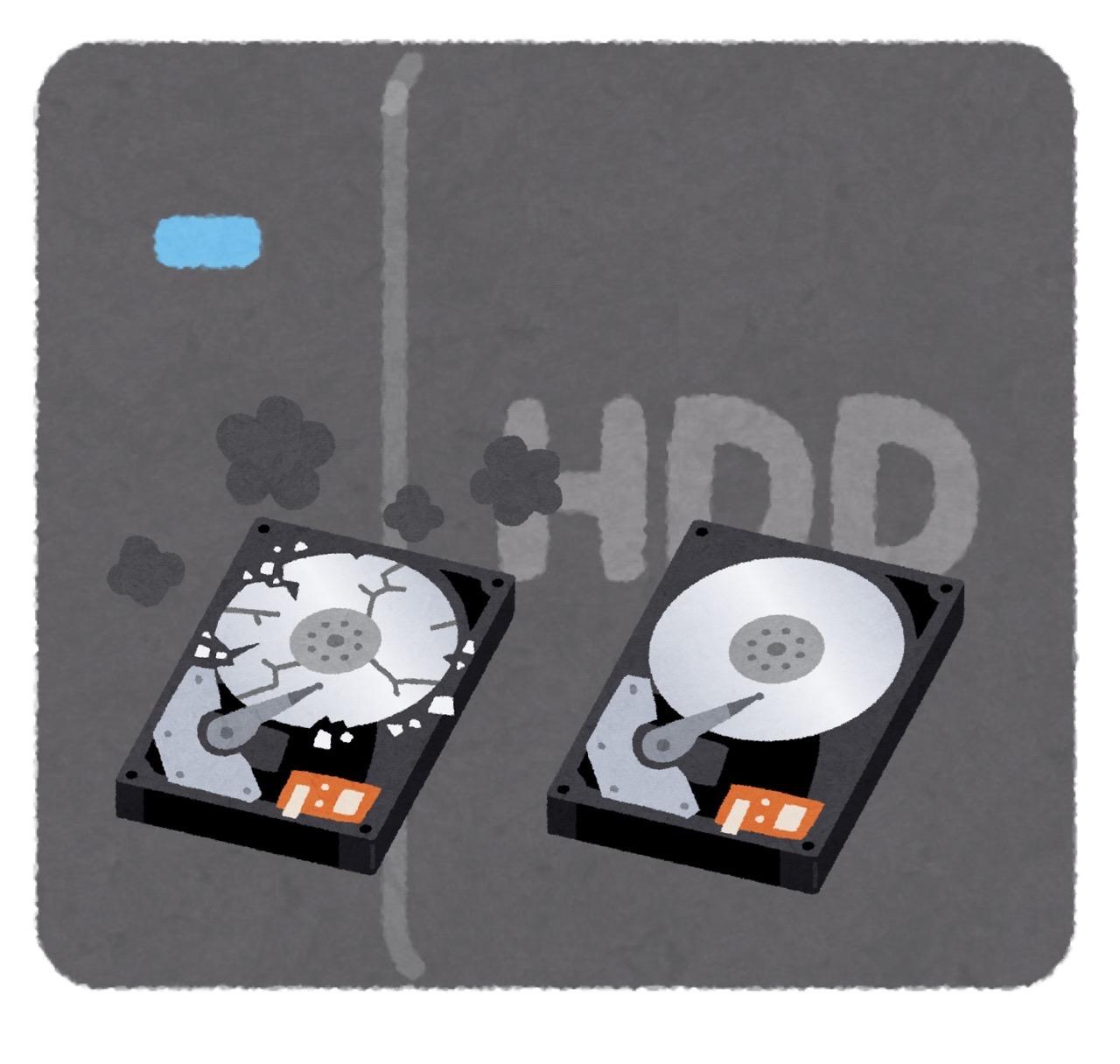 HDDが片方壊れても止まらない